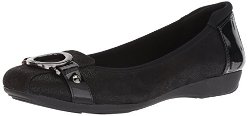 Anne Klein womens Umeko Ballet Flat, Black/Multi Fabric, 6.5 US
