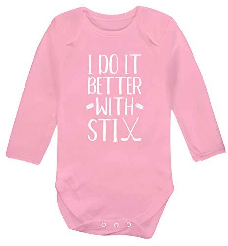 Flox Creative Gilet à Manches Longues pour bébé Inscription I do it Better with stix Hockey - Rose - M