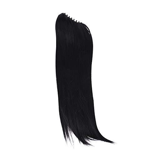 Longue ligne droite synthétique perruque de cheveux Jaws Clamp Ponytails Extensions de cheveux Perruque Ponytails Perruque Hairpiece (Noir)