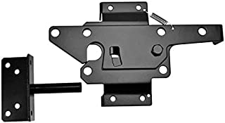 Self-Locking Gate Latch - Post Mount Automatic Gravity Lever Wood Fence Gate Latches with Fasteners/Black Finish Steel Gate Latc - (Color: Black)