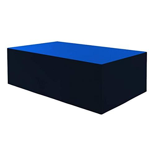 Planesium - Funda protectora para mesa de jardín (impermeable, transpirable, 575 g/lfm, 160 x 110 x 75 cm), color azul y negro