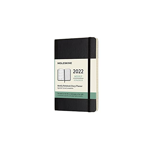 Moleskine Weekly Planner 2022, 12-Month Weekly Diary, Weekly Planner and Notebook, Soft Cover, Pocket Size 9 x 14 cm, Colour Black, 144 Pages
