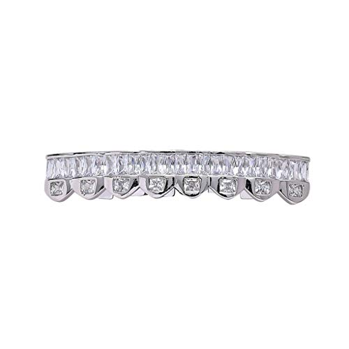 HJG 18K Gold überzog Diamant Grillz Zähne, 8 Zähne Grillz Gold Silber, Iced Out Grillz mit Extra-Molding Bars,Lower Teeth (Silver)