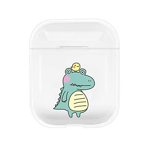 Miagon für Airpods Hülle,Durchsichtig Cartoon Weiche Silikon Hülle für Mädchen Kinder Jungen für Apple Airpods 1 und 2,Dinosaur Duck