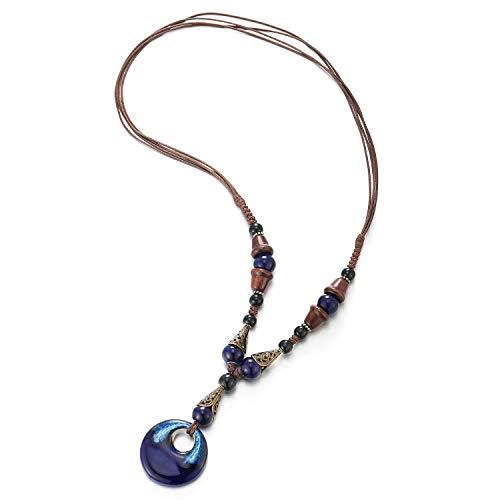 COOLSTEELANDBEYOND Boho Ethnischen Lange Statement Halskette Anhänger Holz Perlen Schwarz Blau Edelsteine Kette mit Baumelnde Ovalen Charme