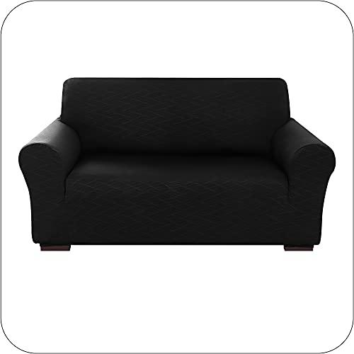 Amazon Brand - Umi Funda para Sofa Decorativa Suave de Salon Comedor 2 Plazas Negro
