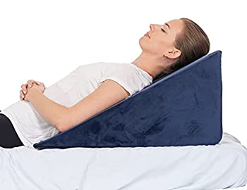 Navy 12 Inch Bed Wedge Pillow - 24 Inch Wide Incline Support Cushion for Lower Back Pain Pregnancy Acid Reflux GERD Heartburn Allergies Anti Snore – Soft Removable Cover