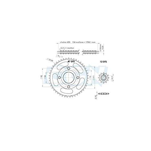 Motodak kit Chaine teknix Compatible avec xpower/tzr 50 98-03 420 12x47 (demult. Origine) d54 / 4 Fix