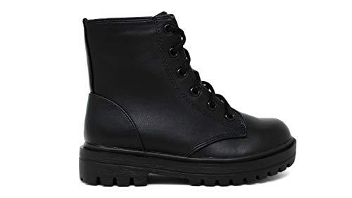 Soda Firm-IIS Girls Lace Up Side Zipper Vegan Leather Combat Boots (Black, Numeric_3)
