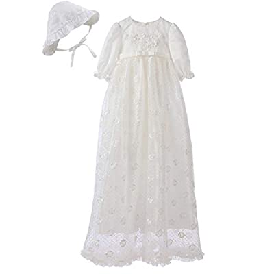 Booulfi Baptism Gifts for Baby Girls Satin Christening Baptism Floral Embroidered Dress Gown Outfit Cream