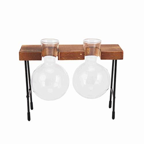 Iycorish Jarrón de cristal hidropónico con marco de madera transparente, para decoración de la sala de café, sala de comedor, mesa y escritorio (dos floreros)