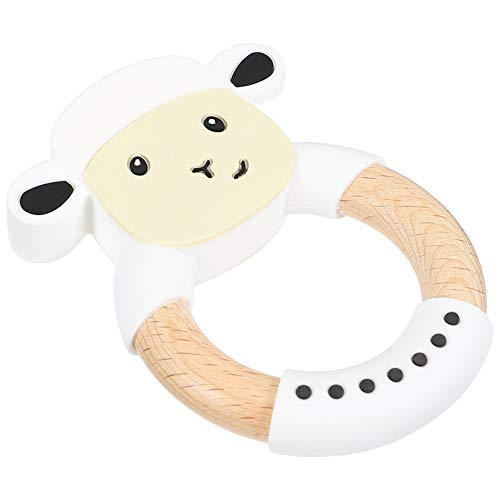 TOYANDONA Baby Teething Toy Cow Shaped Silicone Teether Toy Baby Molar Rod Teething Rings for Infant Baby Newborn Gift White