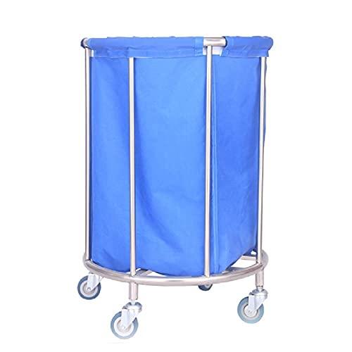 Tcbz Carros, cesto de lavandería, cesto de lavandería Redondo, clasificador, Servicio Pesado, Hotel Comercial con Ruedas y Bolsa extraíble