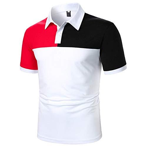 Xmiral Polo Uomo Primavera Estate Camicia Patchwork per Il Tempo Libero con Maniche Corte con Risvolto ( S,4bianca )