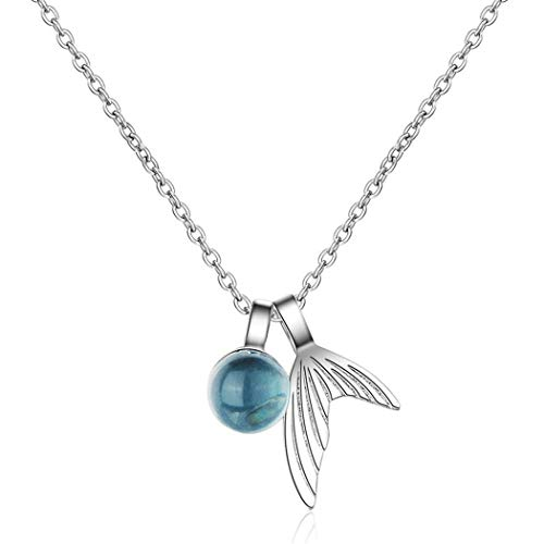 Yikoly Necklace Silver 925 Ladies Girls Glitter Blue Rhinestone Mini Fishtail Fashion Charm Y Chain Necklace Pendant with Chain for Daughter Girlfriend Adjustable