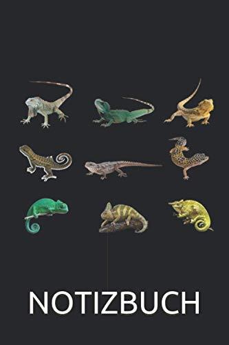 Echsen Verschiedene Reptilien Notizbuch: Chamäleon Gecko Bartagame Notizbuch für Reptilien Fans - 120 linierte Seiten für Termine, Notizen, als ...   Leguan Geschenk Idee für Terrarium Freunde
