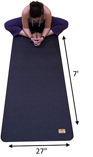 Pogamat Large Yoga Mat and Stretching Mat - 7ft X 27' x 7mm Thick Anti-Tear Non Slip Exercise Yoga Mats Extra Long 7 ft Memory Foam Yoga Mats for Yoga and Cardio Fitness Mat Without Shoes