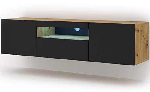 Mueble bajo para TV Aura de 150 cm, para colgar o de pie, universal, mueble para televisión, aparador, mesa de alta fidelidad (roble Artisan y negro mate con LED)