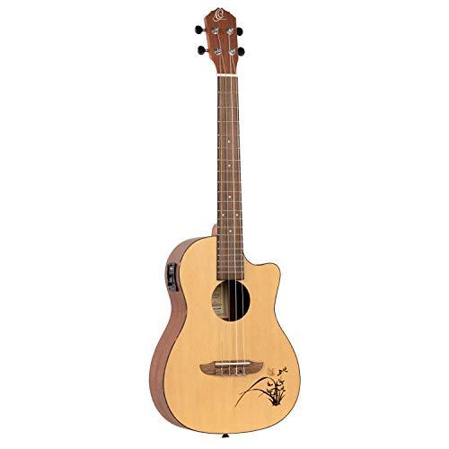 Ortega Guitars RU5CE-BA Fichten-/Sapeleholz Bariton Ukulele (Cutaway, Tonabnehmer , Tortoise Style ABS binding, Laser Gravur)