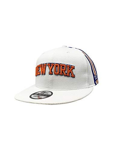 New Era New York Knicks Fitted Hat 59Fifty Basketball Flat Bill Baseball Caps (One Size, White Jersey Hook)