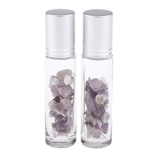 dailymall 2pcs 10ml Cristal Cristal Cristal Piedra Aceite Esencial Masaje Masaje Botella Rollo Recargable En Perfume/Aromaterapia Botella De Almacenamiento - Amatista