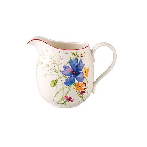 Villeroy & Boch Mariefleur Basic Milchkrug, Milchkanne aus Premium Porzellan mit verspieltem Blumedekor, weiß/bunt, spülmaschinenfest, 600 ml