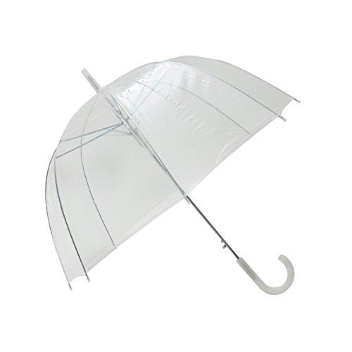SMATI Transparenter/Durchsichtiger Regenschirm mit weißem Griff/Hochzeitsschirm