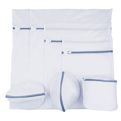 Faireach Wäschenetze für Waschmaschine und Trockner 7er Set, Wäschesack mit Reißverschluss Wäschebeutel für Unterwäsche Feinwäsche BH Dessous Socken Strumpfhosen Taschen Schuhe, Weiß