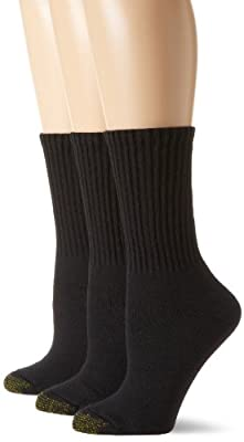 Gold Toe Women's 3-Pack Ultratec Crew Socks, Black, Shoe Size: 6-9