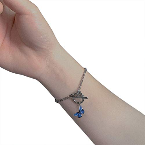 Rongzou - Pulsera colgante de mariposa para mujer, aleación esmalte, con cierre de OT, pulsera
