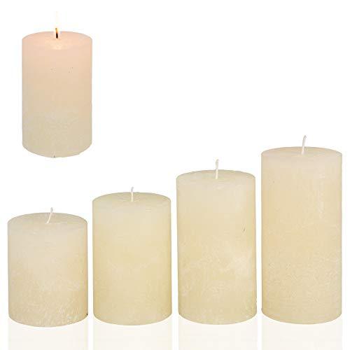 Smart-Planet® Kerzen Ambiente Weihnachten - 4er Set Adventskranz Kerze Farbe Champagner Creme Höhe 8/10/12/14 cm Ø 6,8 cm Advent Weihnachtskranz