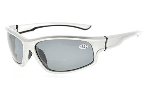Eyekepper Sport Bifocal Lesebrille TR90 Unzerbrechliche Sonnenbrille Baseball Laufen Angeln Fahren Golf Softball Wandern(Silber rahmen/graues Linse,+ 1.00)