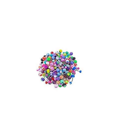 BOVER BEAUTY 60 Pcs Tragus Piercing Piercing Surtido Bolas Piernas Nipple Lengua Barras Profesional Cuerpo Piercing Joyería Multi Uso Botón De Vientre Anillos (Color Mixto)