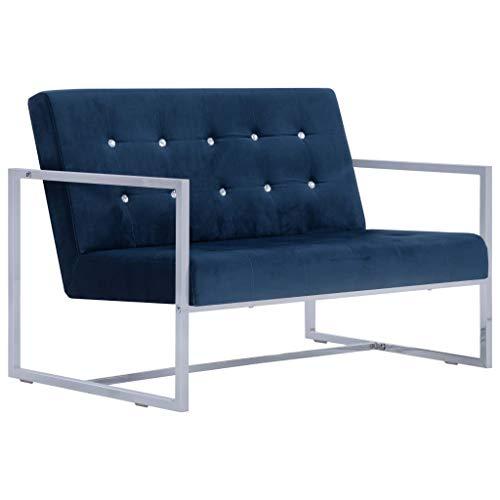 Tidyard 2-Sitzer-Sofa mit Armlehnen Sessel Loungesofa Wohnzimmersofa Sofagarnitur Couchgarnitur Holzrahmen Samtbezug hochwertige verchromte Beine,Abmessungen:114 x 78 x 81 cm (B x T x H)
