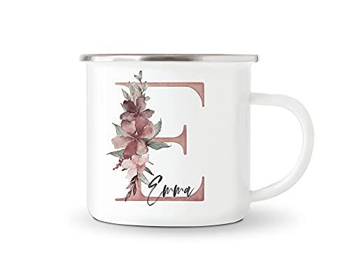 Emaille Tasse Personalisiert Buchstabe Mit Namen Und Blumen Becher Namensgeschenk