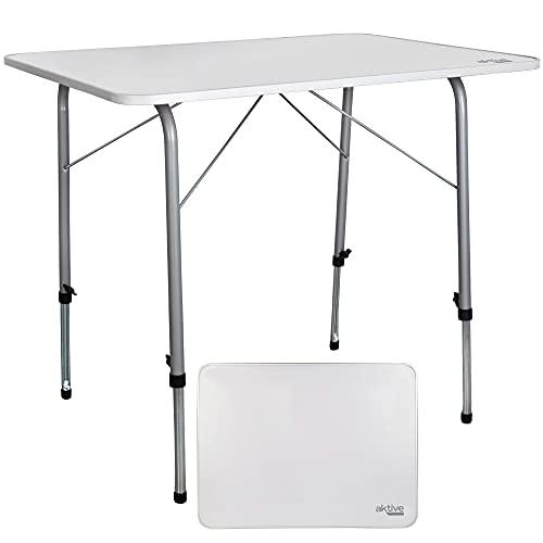 Aktive 52868 - Mesa plegable camping, Mesa altura regulable, Mesa camping, 80x60x50-69 cm, estructura aluminio, Ø22 mm,...