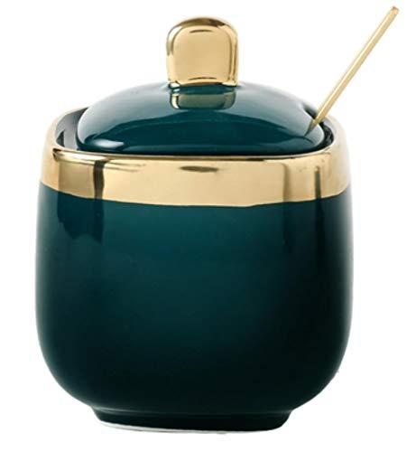 Kruidenpotjes Noord-Europees Licht Luxe Smaragd Keramische Suikerblikken Zout MSG Jar Kruidenpot Kruiden Doos Vierdelige Huishoudelijke Set, 1 stuks -groen