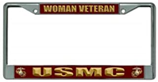 U.S. Marines Woman Veteran Chrome License Plate Frame