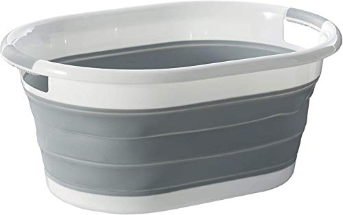 VIROSA Oval Collapsible Laundry Basket - Foldable Storage Container/Organiser - Portable Washing Tub - Space Saving Laundry Hamper - Perfect For Laundry Bedroom Storage or Bathroom