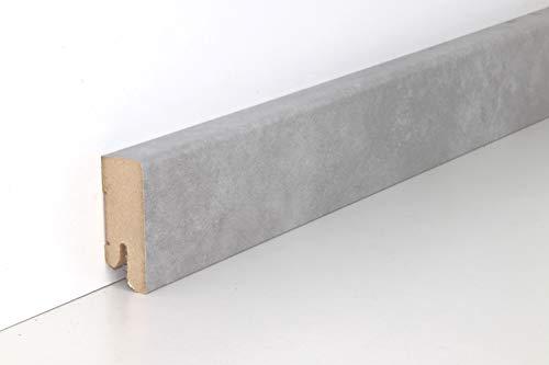 Schnell   Clip Sockelleiste mit Kabelkanal unsichtbare Befestigung 18x50x2500 mm geeignet für Feuchträume   Steindekor Loftgrau