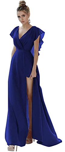 BenBoer V-Neck Bridesmaid Dresses Long Prom Dress with Slit Side Backless Formal Evening Gown Chiffon Ruffled Sleevess (Electric Blue-26 Plus) (Apparel)