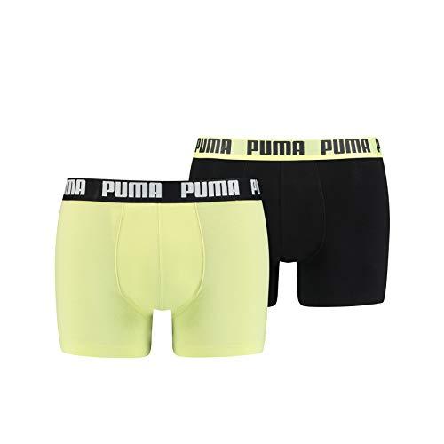 PUMA Herren Basic Boxers Boxer-Shorts, Schwarz Gelb, XXL
