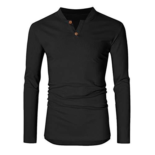 Mens T Shirt Men Sweatshirt V-Neck Long Sleeve Comfortable Casual Slim Light Men T-Shirt New Simple Sport Fitness Jogging Men Sweatshirt Fashion Men's Clothing A-Black M