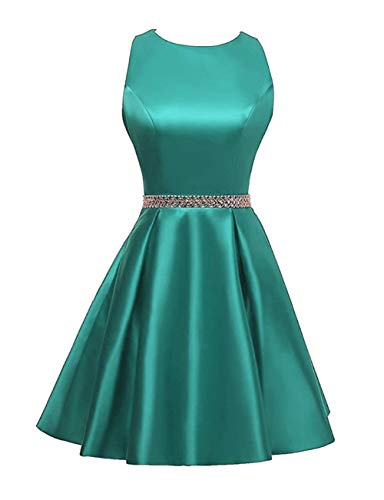 Beaded Homecoming Dresses Short Satin Cocktail Prom Dress Party Formal Gowns Turquoise US 20W