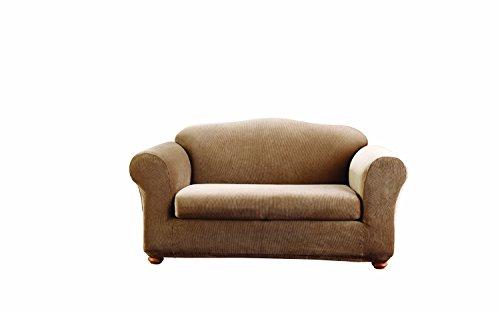 Sure Fit Stretch Stripe 2-Piece - Sofa Slipcover - Brown (SF37630)
