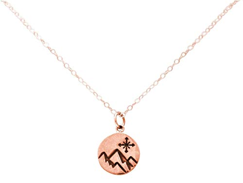 Gemshine Alpin Berg mit Windrose Kompass Halskette in 925 Silber, hochwertig vergoldet oder rose. Sportschmuck - Made in Madrid, Spain, Metall Farbe:Silber rose vergoldet