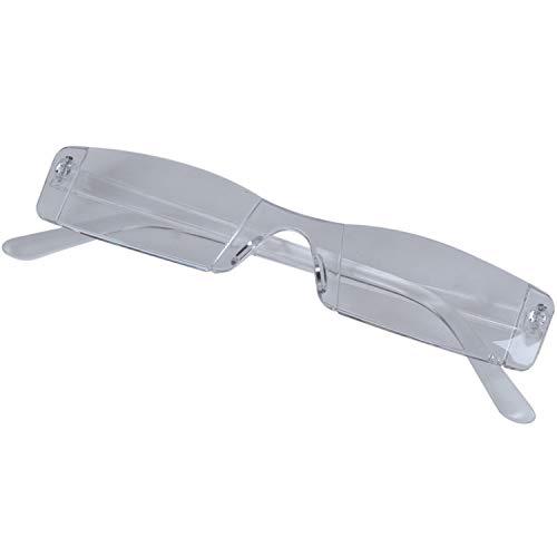 Gesh Funda para gafas de lectura sin montura de metal templo de 1,00 a 4,00 dioptrías, transparente (300 grados)