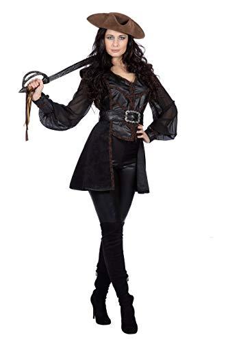Wilbers & Wilbers Chaqueta de pirata, chaleco, blusa, calaveras, accesorio para disfraz, para mujer, pirata, novia, carnaval, Halloween, talla: 52