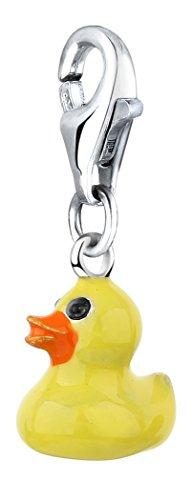 Nenalina Gummi Ente Charm aus 925 Sterling Silber, passend für alle gängigen Charmträger und Bettelarmband 714157-001