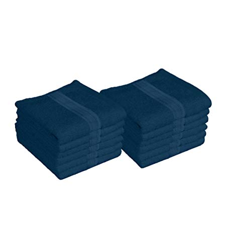 """Lushomes Ink Blue Super Soft Cotton Face Towel (Size 12 x 12"""", Pack of 12, 450 GSM)"""